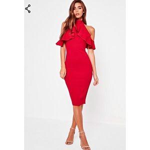 High Neck Cold Shoulder Midi Dress
